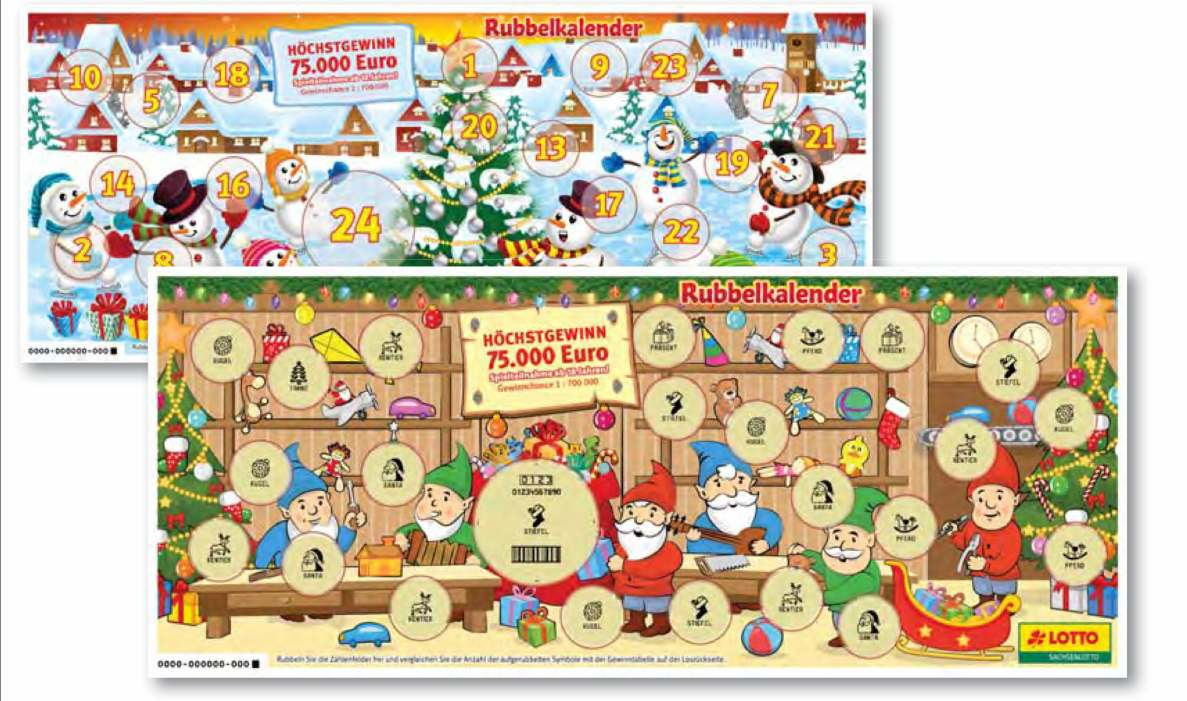 Rubbel Adventskalender Lotto